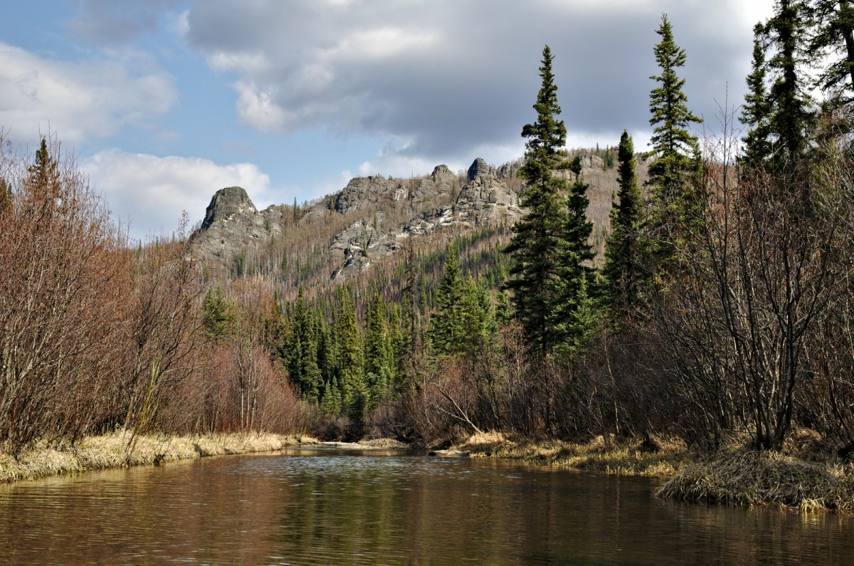 Looking at Angel Rocks from over a tributary to the Chena River