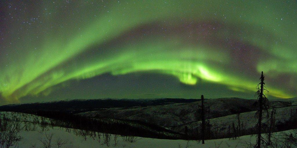 Aurora borealis from the Granite Tors Trail.