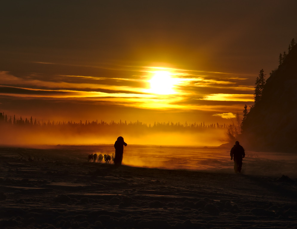 A musher sets out for a cold evening run on the Tanana River. All I can see against the setting Sun is the silhouettes of the musher with his dogs and the trees in the distance. The fog around the dogs is actually from their breath - the air was 40 below.