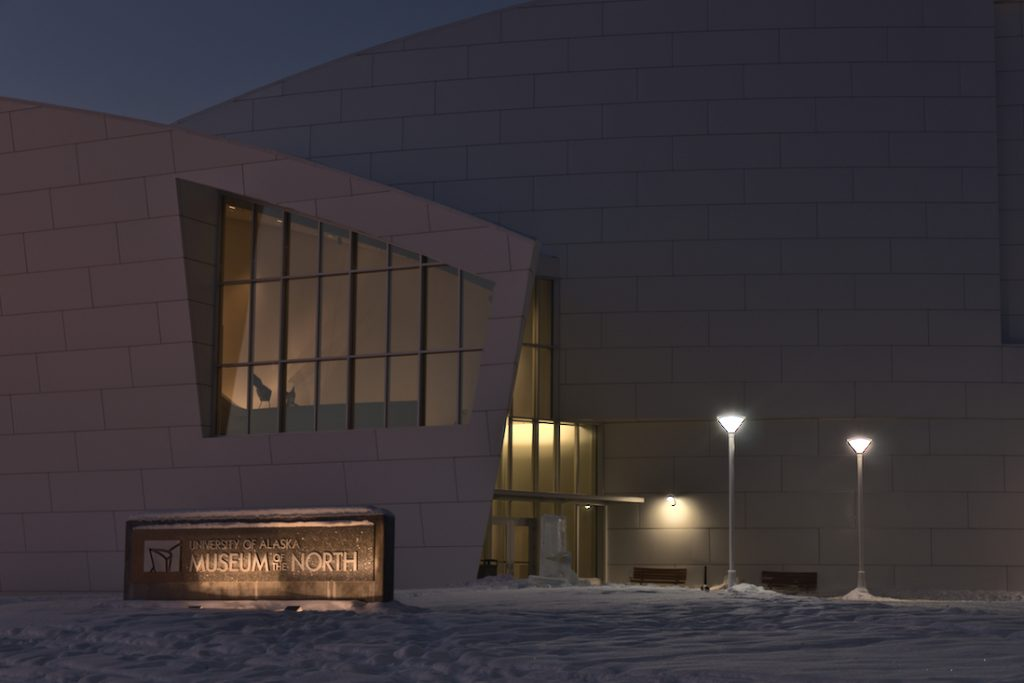 The entrance of the Museum of the North at the University of Alaska Fairbanks