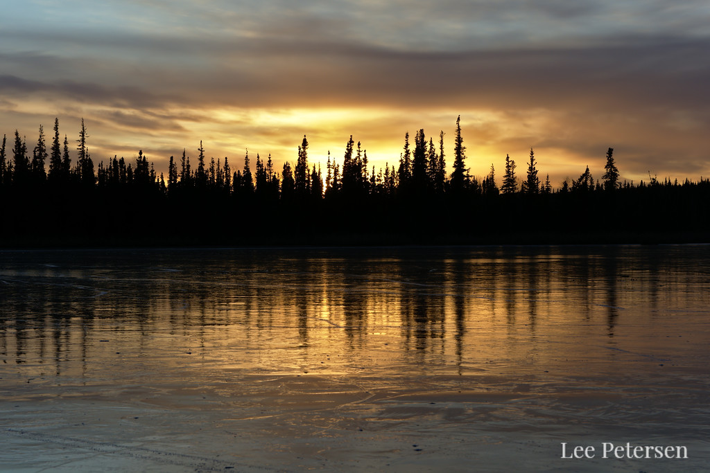 Sunset over an Icy Smith Lake