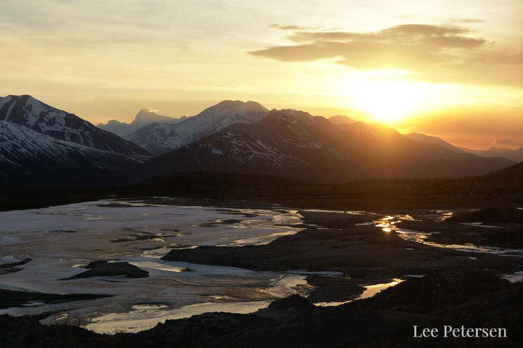 Sunset over Miller Creek from the Canwell Glacier in the Alaska Range
