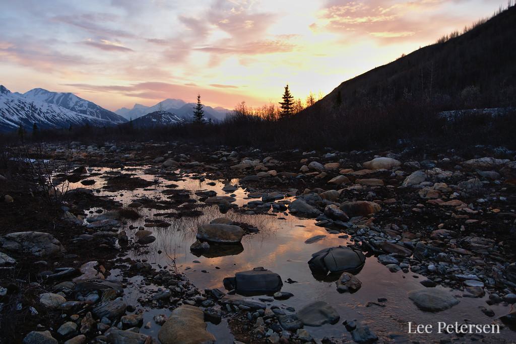 Miller Creek in the Alaska Range at sunset