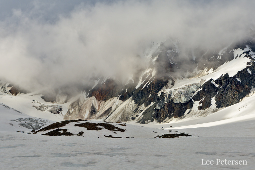 A hanging glacier on Peak 8100 and a few icefalls leading up toward Icefall Peak - From College Glacier in the Alaska Range