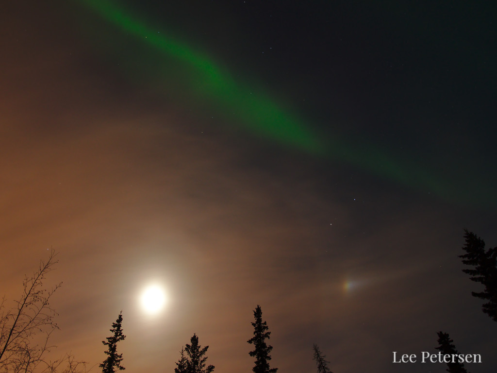 Moon, moon dog and aurora borealis