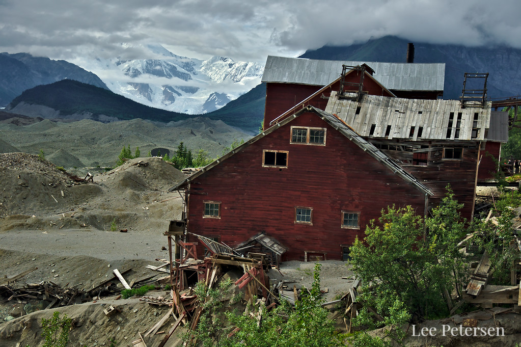 The old ammonia leaching plant at the Kennecott copper mine. To the left is the largely debris covered Kennicott Glacier (yes, the spelling is different) and the flanks of Mt. Blackburn (16,390 ft - 4,996 m) hiding behind the clouds.