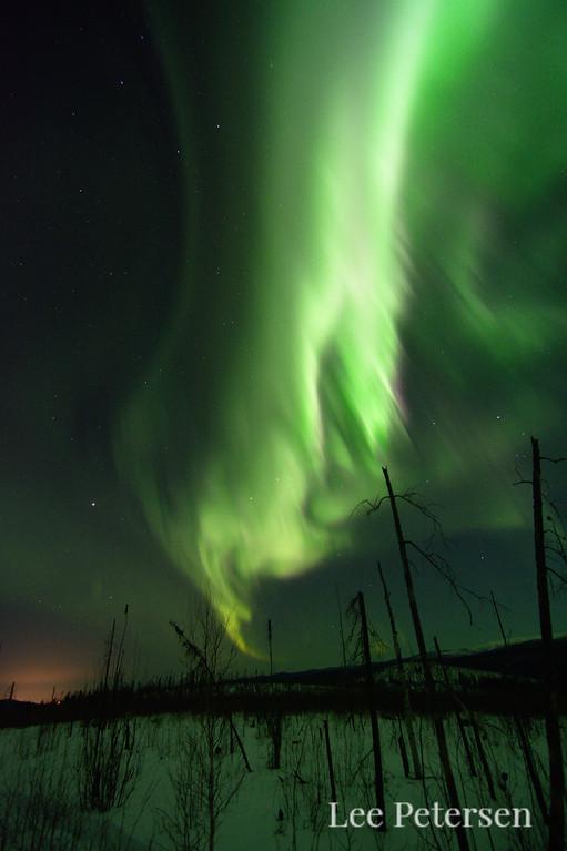 Aurora borealis over the Granite Tors trail in Alaska