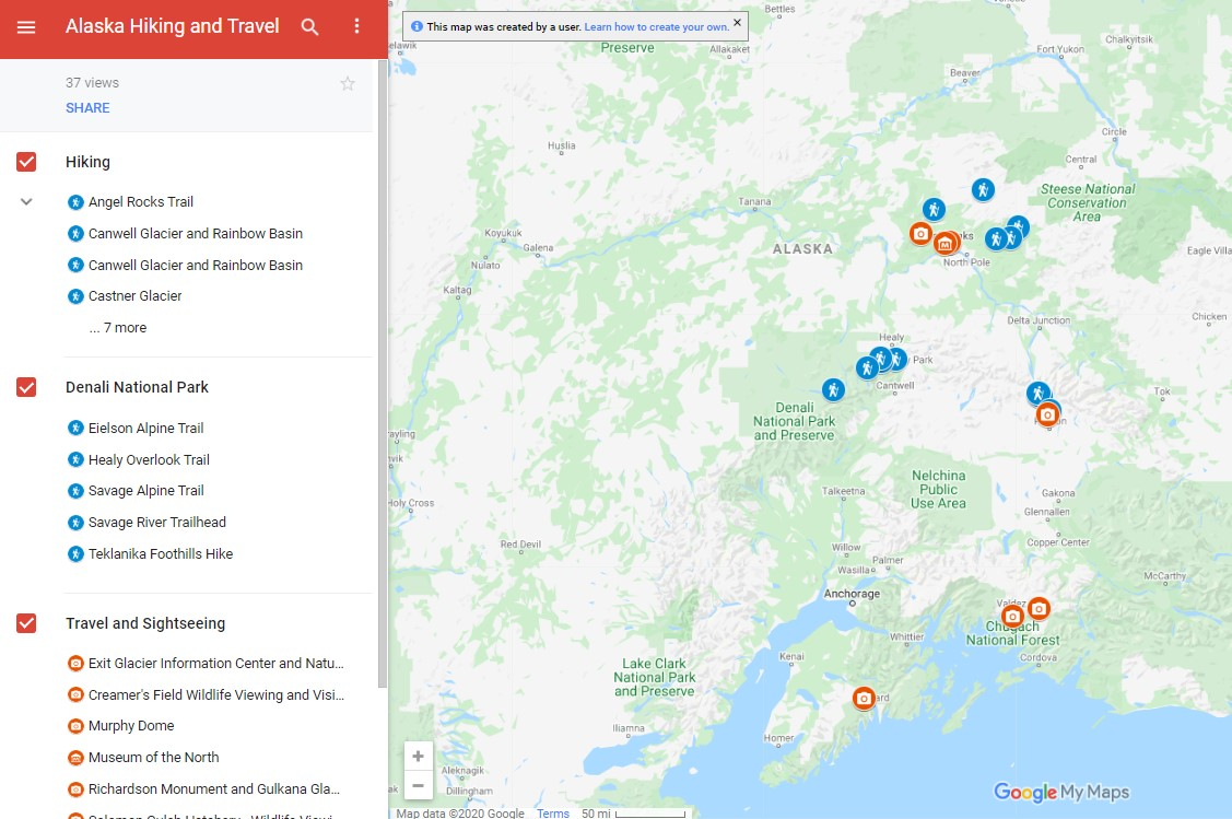 map of hiking and travel locations in alaska
