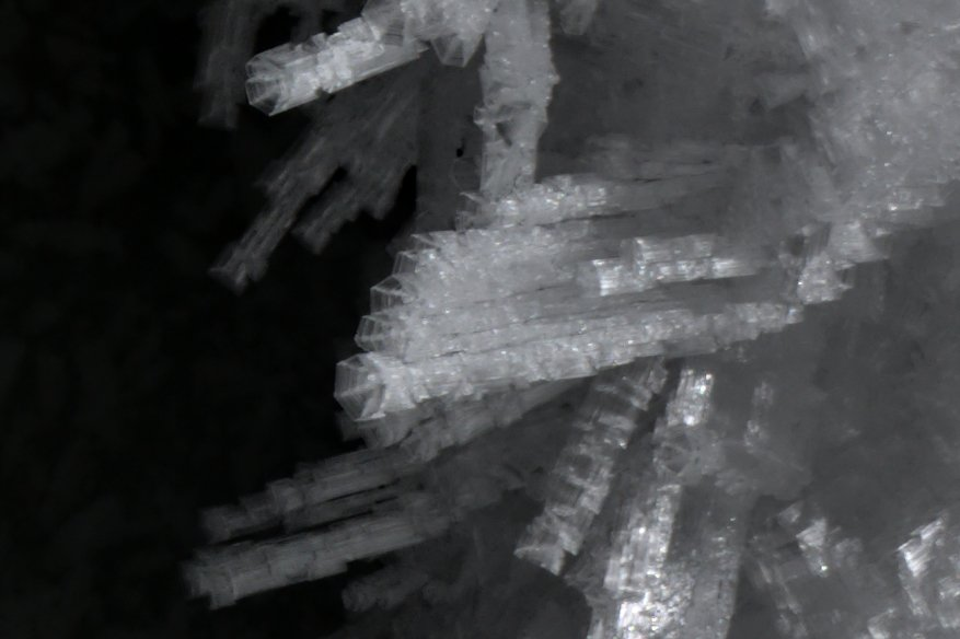 Close up of skeletal ice crystals